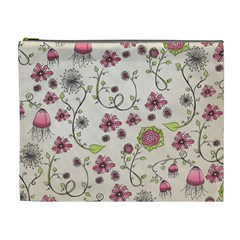 Pink Whimsical Flowers On Beige Cosmetic Bag (xl) by Zandiepants