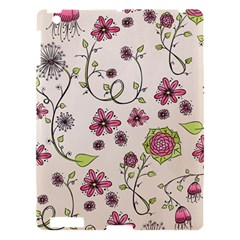 Pink Whimsical Flowers On Beige Apple Ipad 3/4 Hardshell Case by Zandiepants