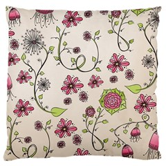Pink Whimsical Flowers On Beige Large Cushion Case (two Sided)  by Zandiepants