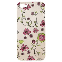 Pink Whimsical Flowers On Beige Apple Iphone 5 Hardshell Case by Zandiepants
