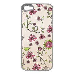 Pink Whimsical flowers on beige Apple iPhone 5 Case (Silver) by Zandiepants
