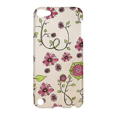 Pink Whimsical Flowers On Beige Apple Ipod Touch 5 Hardshell Case by Zandiepants