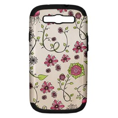 Pink Whimsical Flowers On Beige Samsung Galaxy S Iii Hardshell Case (pc+silicone)