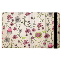 Pink Whimsical Flowers On Beige Apple Ipad 3/4 Flip Case by Zandiepants