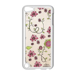 Pink Whimsical Flowers On Beige Apple Ipod Touch 5 Case (white) by Zandiepants