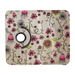 Pink Whimsical Flowers On Beige Samsung Galaxy S  Iii Flip 360 Case by Zandiepants