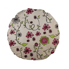 Pink Whimsical flowers on beige 15  Premium Round Cushion  by Zandiepants