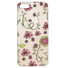 Pink Whimsical Flowers On Beige Apple Iphone 5 Hardshell Case With Stand by Zandiepants