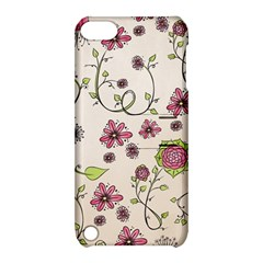 Pink Whimsical Flowers On Beige Apple Ipod Touch 5 Hardshell Case With Stand by Zandiepants