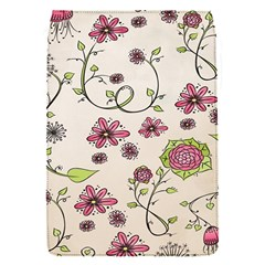 Pink Whimsical Flowers On Beige Removable Flap Cover (small) by Zandiepants