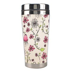 Pink Whimsical Flowers On Beige Stainless Steel Travel Tumbler by Zandiepants