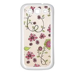 Pink Whimsical Flowers On Beige Samsung Galaxy S3 Back Case (white) by Zandiepants