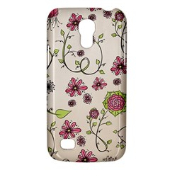 Pink Whimsical Flowers On Beige Samsung Galaxy S4 Mini (gt I9190) Hardshell Case  by Zandiepants