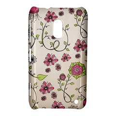 Pink Whimsical Flowers On Beige Nokia Lumia 620 Hardshell Case by Zandiepants