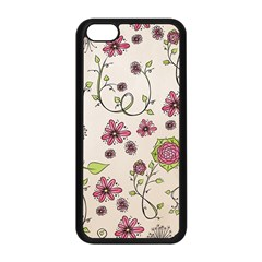 Pink Whimsical Flowers On Beige Apple Iphone 5c Seamless Case (black) by Zandiepants