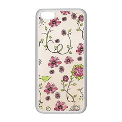 Pink Whimsical Flowers On Beige Apple Iphone 5c Seamless Case (white) by Zandiepants