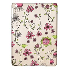 Pink Whimsical Flowers On Beige Apple Ipad Air Hardshell Case by Zandiepants
