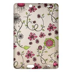 Pink Whimsical Flowers On Beige Kindle Fire Hd 7  (2nd Gen) Hardshell Case