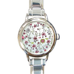 Pink Whimsical Flowers On Blue Round Italian Charm Watch by Zandiepants