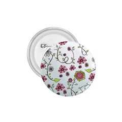 Pink Whimsical Flowers On Blue 1 75  Button by Zandiepants
