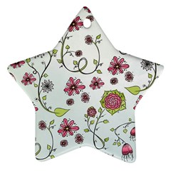 Pink Whimsical Flowers On Blue Star Ornament by Zandiepants