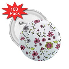Pink whimsical flowers on blue 2.25  Button (100 pack) by Zandiepants
