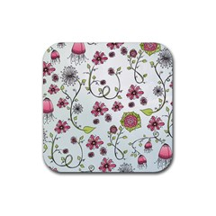 Pink Whimsical Flowers On Blue Drink Coaster (square) by Zandiepants