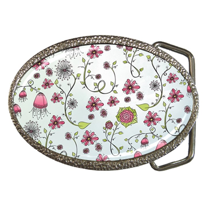 Pink whimsical flowers on blue Belt Buckle (Oval)