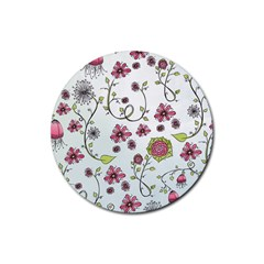 Pink Whimsical Flowers On Blue Drink Coasters 4 Pack (round)