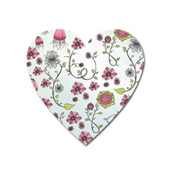Pink Whimsical Flowers On Blue Magnet (heart) by Zandiepants
