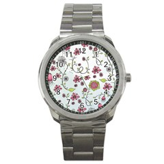 Pink Whimsical Flowers On Blue Sport Metal Watch by Zandiepants
