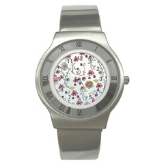 Pink Whimsical Flowers On Blue Stainless Steel Watch (slim) by Zandiepants