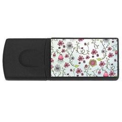 Pink Whimsical Flowers On Blue 4gb Usb Flash Drive (rectangle) by Zandiepants