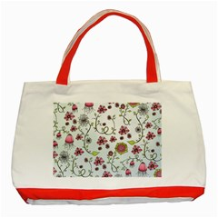 Pink Whimsical Flowers On Blue Classic Tote Bag (red) by Zandiepants