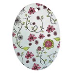 Pink whimsical flowers on blue Oval Ornament (Two Sides) Back