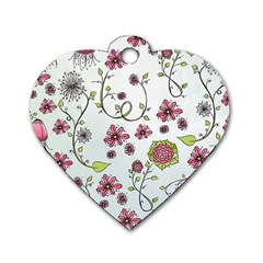 Pink Whimsical Flowers On Blue Dog Tag Heart (one Sided)  by Zandiepants