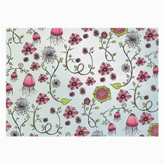Pink Whimsical Flowers On Blue Glasses Cloth (large) by Zandiepants