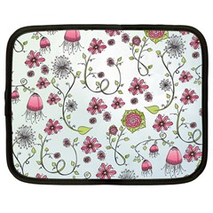 Pink Whimsical Flowers On Blue Netbook Sleeve (large) by Zandiepants