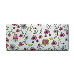 Pink Whimsical Flowers On Blue Hand Towel by Zandiepants