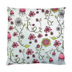 Pink Whimsical Flowers On Blue Cushion Case (two Sided)  by Zandiepants