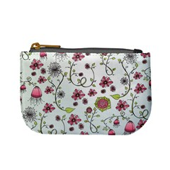 Pink Whimsical Flowers On Blue Coin Change Purse by Zandiepants