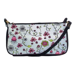 Pink Whimsical Flowers On Blue Evening Bag by Zandiepants