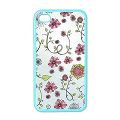 Pink Whimsical Flowers On Blue Apple Iphone 4 Case (color) by Zandiepants