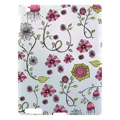 Pink Whimsical Flowers On Blue Apple Ipad 3/4 Hardshell Case by Zandiepants