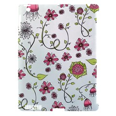 Pink Whimsical Flowers On Blue Apple Ipad 3/4 Hardshell Case (compatible With Smart Cover) by Zandiepants