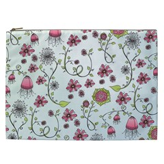 Pink Whimsical Flowers On Blue Cosmetic Bag (xxl) by Zandiepants