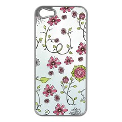 Pink Whimsical Flowers On Blue Apple Iphone 5 Case (silver) by Zandiepants