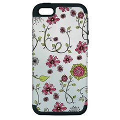 Pink Whimsical Flowers On Blue Apple Iphone 5 Hardshell Case (pc+silicone) by Zandiepants
