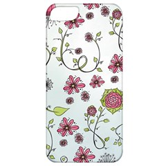 Pink Whimsical Flowers On Blue Apple Iphone 5 Classic Hardshell Case by Zandiepants