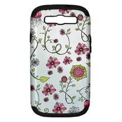 Pink Whimsical Flowers On Blue Samsung Galaxy S Iii Hardshell Case (pc+silicone) by Zandiepants